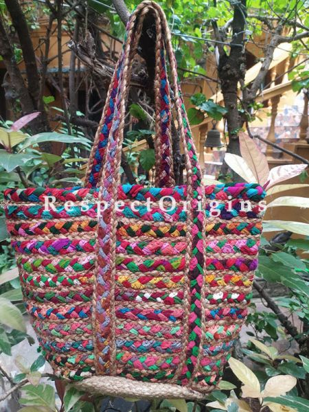 Buy Multi-Colour Eco-friendly Hand Braided Jute Cotton Boho Bag with Shoulder Straps; Chindi Style.;At RespectOrigins
