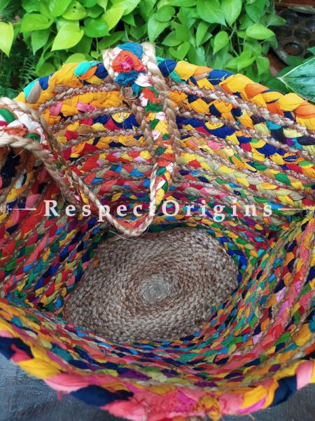Buy Multi-Colour Hand Braided Jute Cotton Boho Bag with Shoulder Straps; Chindi Style.;At RespectOrigins