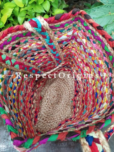 Buy Multi-Colour Chindi Hand Braided Jute Cotton Boho Bag with Shoulder Straps;At RespectOrigins