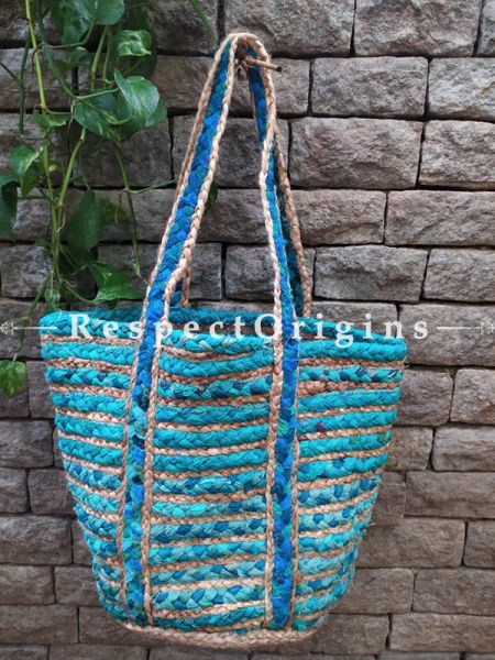 Buy Blue and Brown Braided Jute Cotton Boho Bag with Shoulder Straps;At RespectOrigins