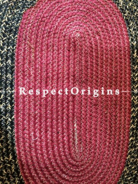 Ecofriendly Maroon and Black natural Oval organic Jute Table Mat or Floor Mats, Hand Braided; RespectOrigins