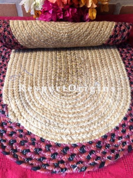 Ecofriendly Dark Pink & natural Oval organic Jute Table Mat or Floor Mats