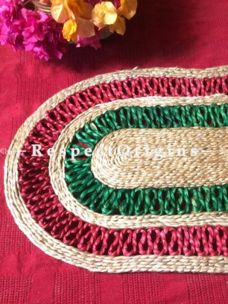 Ecofriendly Red and Green Oval organic Jute Table Mats or Floor Mats, Hand Braided; RespectOrigins