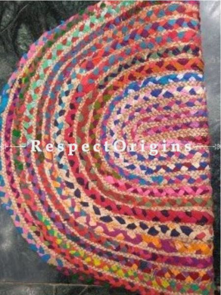 Jute & Cotton Up cycled Oval Chindi Floor Mat or Table Top 24X36 inches; RespectOrigins