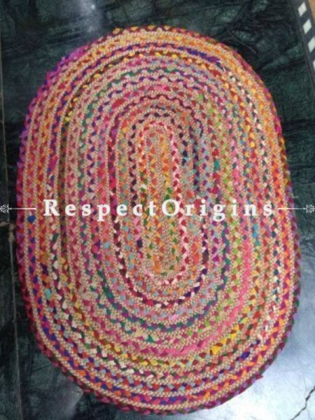 Jute & Cotton Up cycled Oval Chindi Floor Mat or Table Top 24X36 in; RespectOrigins