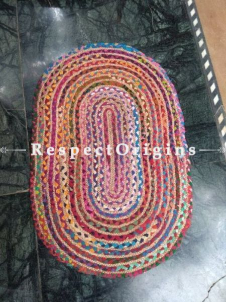 Jute & Cotton Up-cycled Oval Chindi Floor Mat or Table Top 24X36 in; RespectOrigins
