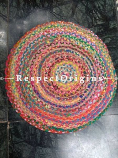 Jute & Cotton Up cycled Round Chindi Floor Mat or Table Top; RespectOrigins