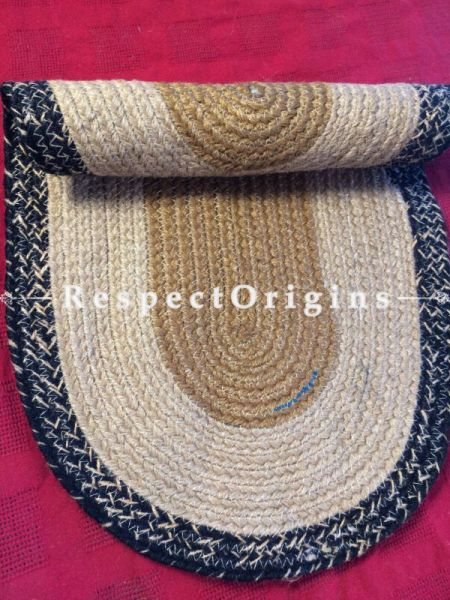 Ecofriendly Black and natural Oval organic Jute Table Mat or Floor Mats, Hand Braided; RespectOrigins