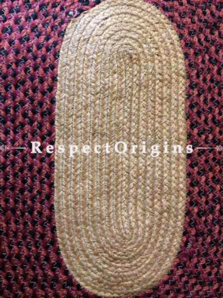 Ecofriendly Dark Pink and natural Oval organic Jute Table Mat or Floor Mats, Hand Braided; RespectOrigins
