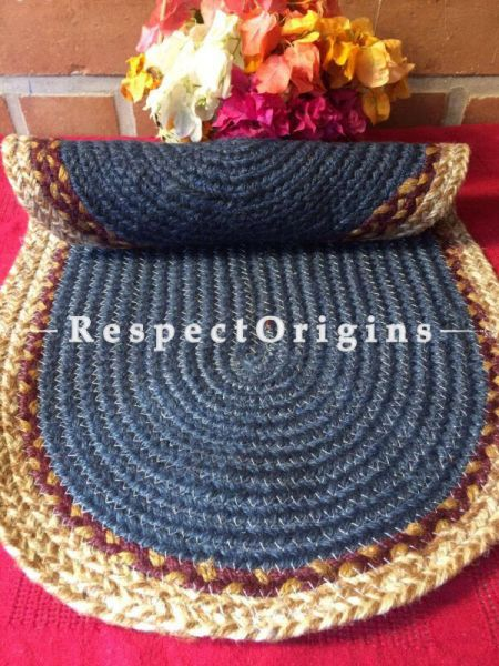 Dark Blue & natural Oval organic Jute Table Mat or Floor Mats, Hand Braided; RespectOrigins