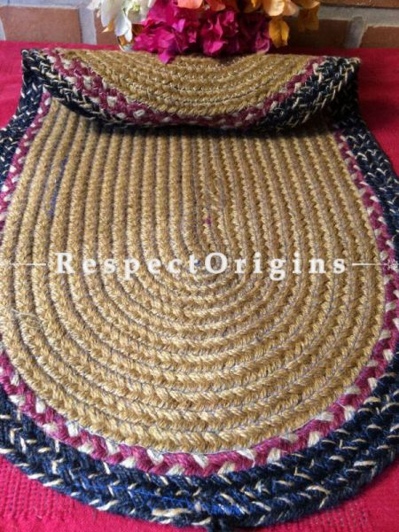 Ecofriendly Blue, Pink & natural organic Oval Jute Table Mat or Floor Mats, Hand Braided; RespectOrigins