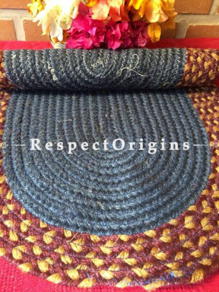 Ecofriendly Blue & Brown natural Oval organic Jute Table Mat or Floor Mats, Hand Braided; RespectOrigins