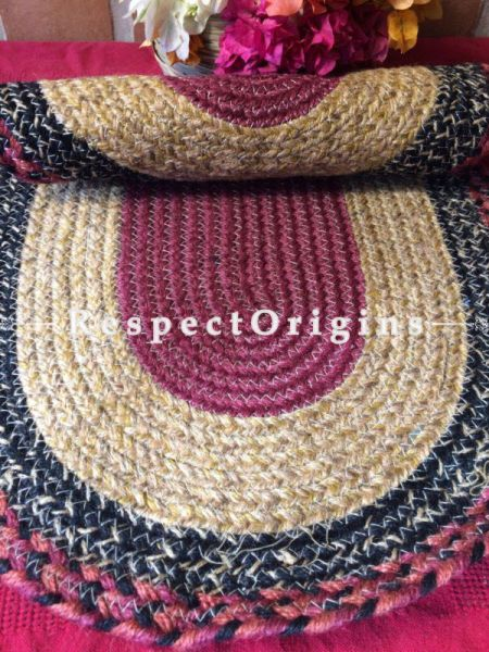 Ecofriendly Maroon Black and Natural organic Oval Jute Table Mat or Floor Mats, Hand Braided; RespectOrigins