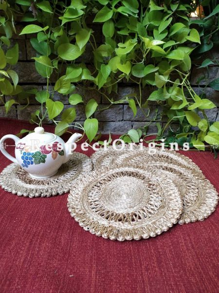 "Jute Table Mat or Hot Plate holder; Set of 6 Natural Organic Eco-friendly Jute. Available in 8 and 12""; Respect Origins.com"