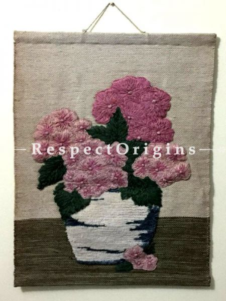 Floral Design Handcrafted Jute Wall Hanging; H30xW24 Inches; RespectOrigins.com