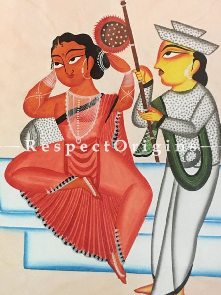 Buy Kalighat Painting of Babu Hand Fanning Bibi; Traditional Vertical Folk Art of Bengal On Paper in 18x25 inches|RespectOrigins.com