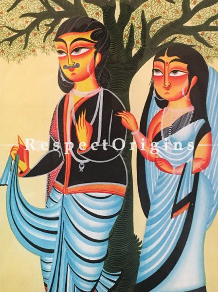Buy Kalighat Painting of Couple Under Tree; Traditional Vertical Folk Art of Bengal on Paper in 18x25 inches