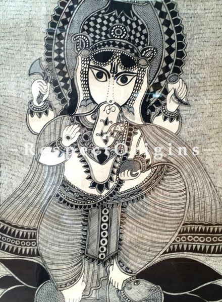 Buy Kalighat Painting of Ganesha; Traditional Folk Art of Bengal On Paper in 26x33 inches|RespectOrigins
