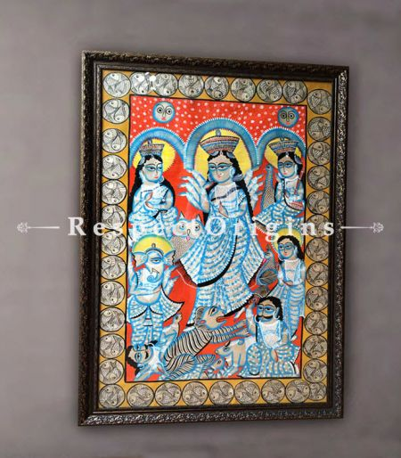 Kalighat Painting of Ma Durga; Vertical Traditional Folk Art of Bengal on Paper in 29x44 in