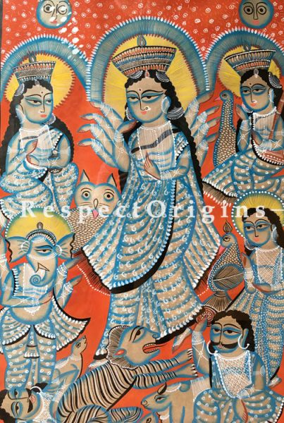 Buy Kalighat Painting of Ma Durga; Folk Art of Bengal on Paper in 33x48|RespectOrigins