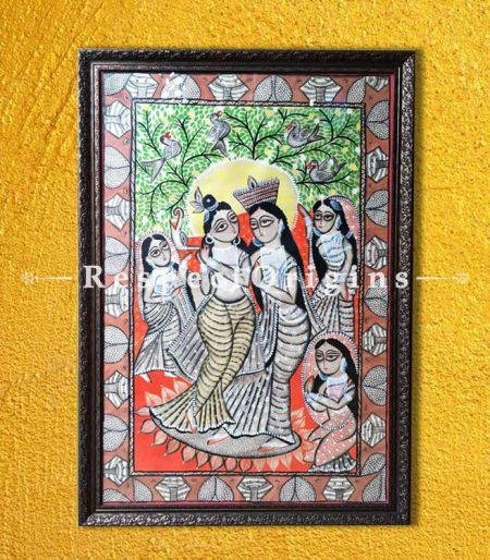 Kalighat Painting of Radha Krishna; Traditional Vertical Folk Art of Bengal on Paper in 29X44 in; Natural Colour