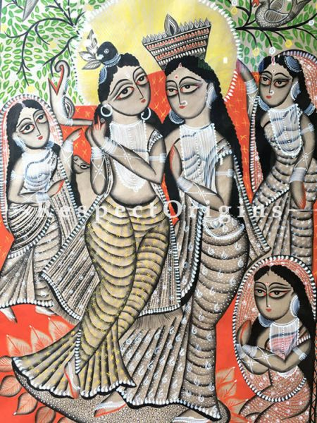 Buy Kalighat Painting of Radha Krishna; Traditional Vertical Folk Art of Bengal On Paper in 33x48 inches|RespectOrigins