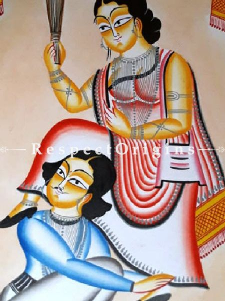 Henpecked Husband Kalighat Painting on Paper from West Bengal; 14X22 In