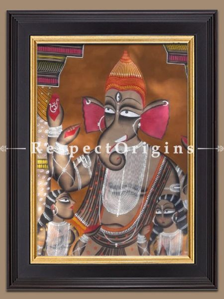 Lord Ganesha Kalighat Painting on Paper from WestBengal