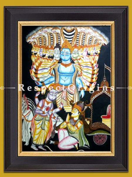 Lord Vishnu Kalighat Painting on Paper from WestBengal