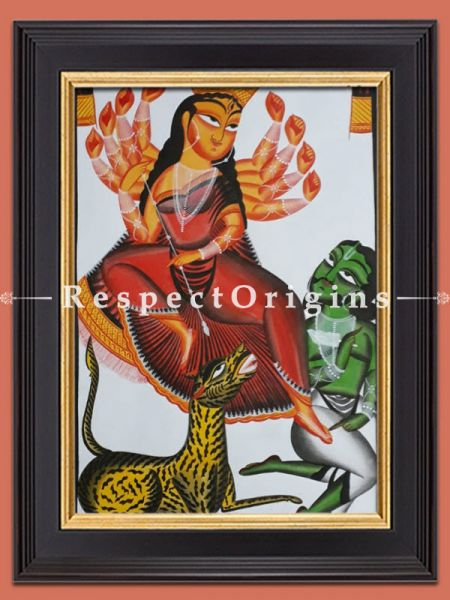 Kali Mata; Kalighat Painting; Vertical Folk Art of Bengal; 22x15