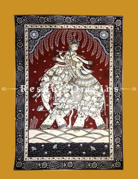 Kandarpa Elephant Pattachitra Katha Kandarpa elephant Pattachitra Painting Canvas Large Vertical Folk Art of Odisha 19x13