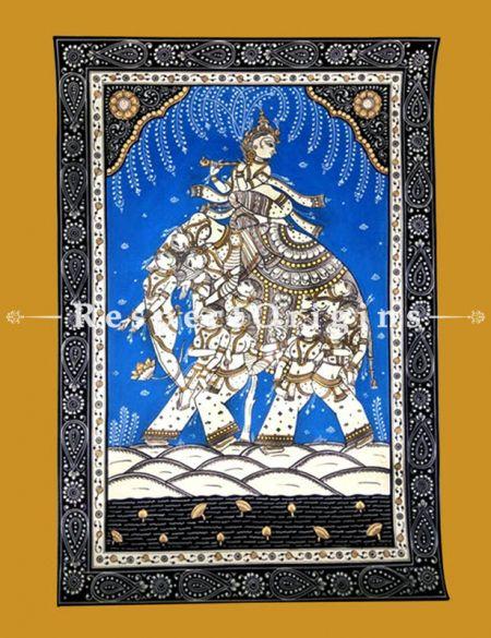 Kandarpa Hasti Pattachitra Katha Kandarpa hasti Pattachitra Painting Canvas Large Vertical Folk Art of Odisha 19x13