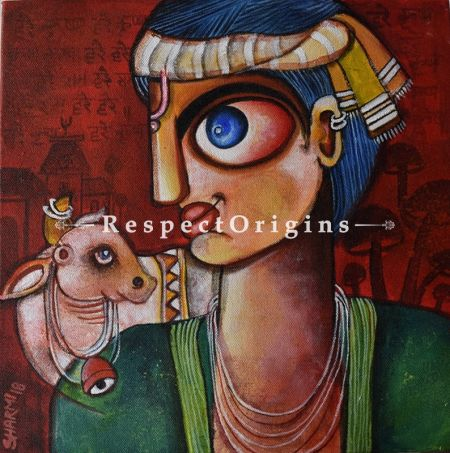 Square Art Painting of Kanha;Acrylic on Canvas; 12in X 12in at RespectOrigins.com