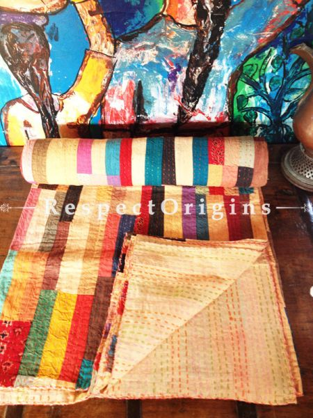 Rainbow Colored Patchwork Kantha-stitch Blanket Pure Cotton Dohar Spread Block Prints; Length 110 x Width 90 Inches; RespectOrigins.com