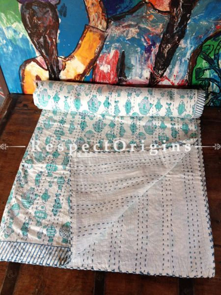 Light n White Seasonal Kantha-stitch Pure Cotton Blanket Dohar Spread Block Prints;Length 110 x Width 90 Inches; RespectOrigins.com