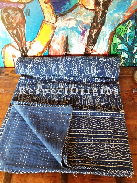 Blue White Fish Motif Kantha-stitch Pure Cotton Dohar Spread Block Prints; Length 110 x Width 90 Inches; RespectOrigins.com