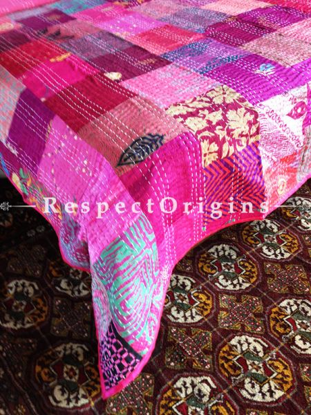 Fuschia Pink n Red Color Pop Kantha-stitch Pure Cotton Dohar Spread Block Prints; Length 110 x Width 90 Inches; RespectOrigins.com