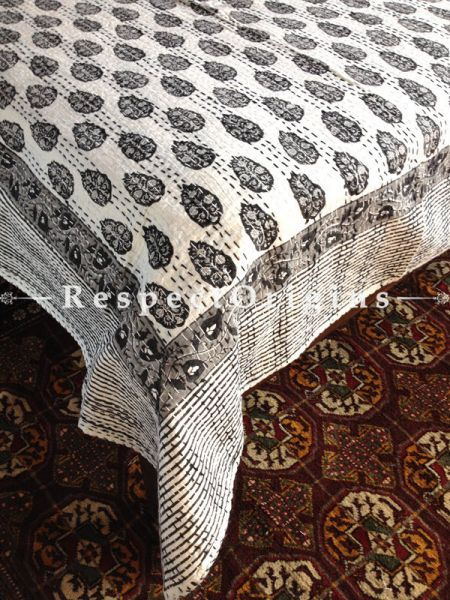 White  Kantha-stitch Pure Cotton Dohar Spread Block Prints;Length 110 x Width 90 Inches; RespectOrigins.com