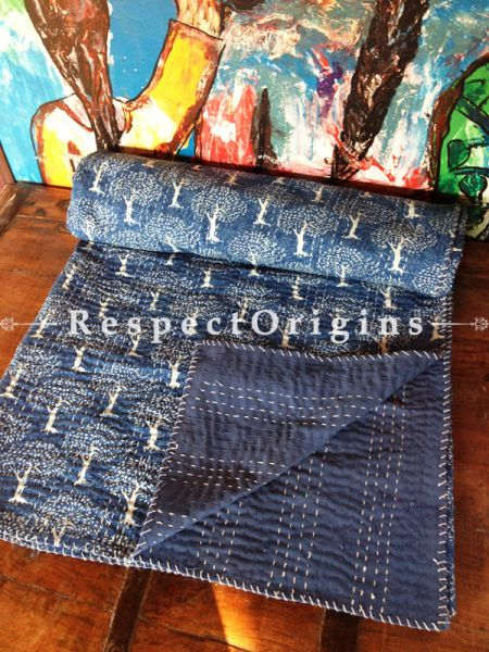 Blue Seasonal Kantha-stitch Pure Cotton Dohar Spread Block Prints;Length 110 x Width 90 Inches; RespectOrigins.com