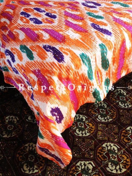 Orange Ikat Seasonal Kantha-stitch Pure Cotton Dohar Spread Block Prints;Length 110 x Width 90 Inches; RespectOrigins.com