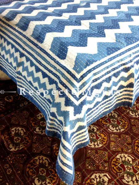 Indigo Blue Seasonal Kantha-stitch Pure Cotton Dohar Spread Block Prints;Length 110 x Width 90 Inches; RespectOrigins.com