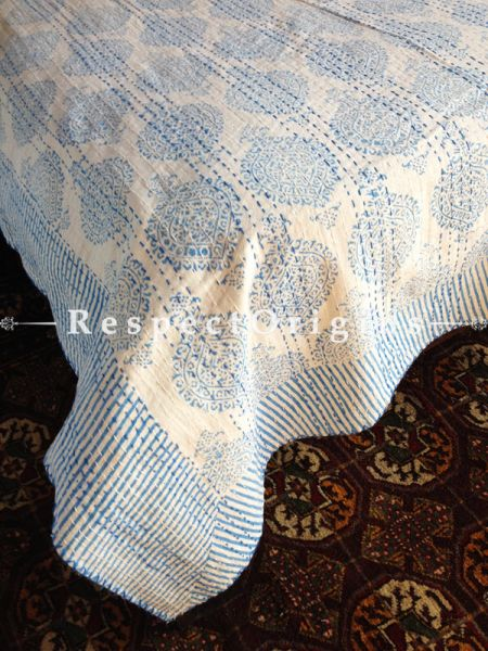 Cream Seasonal Kantha-stitch Pure Cotton Dohar Spread Block Prints;Length 110 x Width 90 Inches; RespectOrigins.com