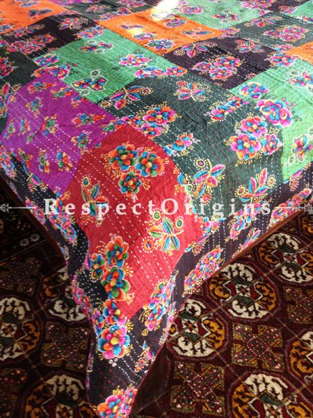 Brilliantly Colored Seasonal Kantha-stitch Pure Cotton Dohar Spread Block Prints;Length 110 x Width 90 Inches; RespectOrigins.com