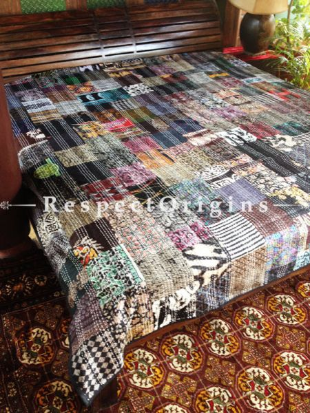 Striking Black with Multicolored Block-print Kantha-stitch Pure Cotton Blanket Dohar Spread Block Prints; Length 110 x Width 90 Inches; RespectOrigins.com