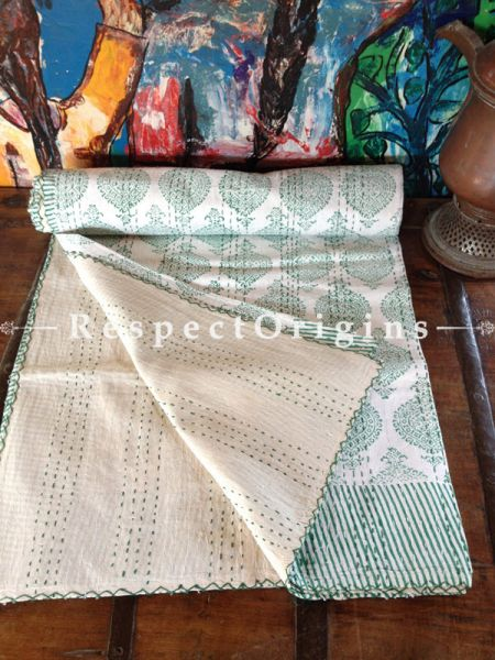 White n Pista Green Seasonal Kantha-stitch Pure Cotton Dohar Spread Block Prints; 110 x 90 Inches; RespectOrigins.com