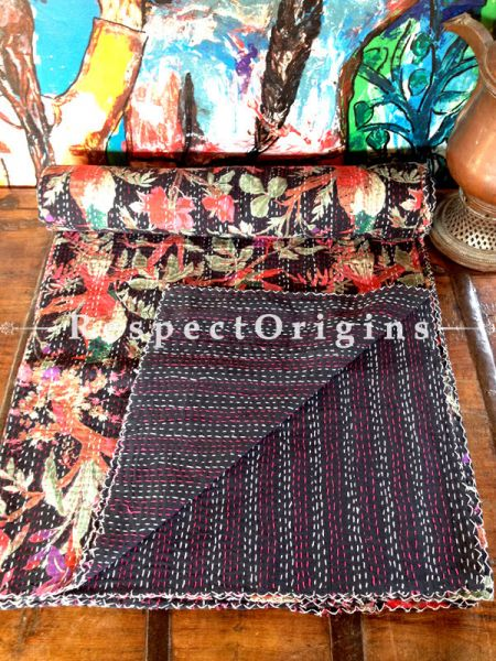 Black n Orange Floral Seasonal Kantha-stitch Pure Cotton Dohar Spread Block Prints;Length 110 x Width 90 Inches; RespectOrigins.com