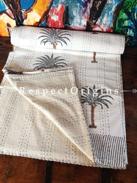 White with Palm Tree Print Kantha-stitch Blanket Pure Cotton Dohar Spread Block Prints; Length 110 x Width 90 Inches; RespectOrigins.com