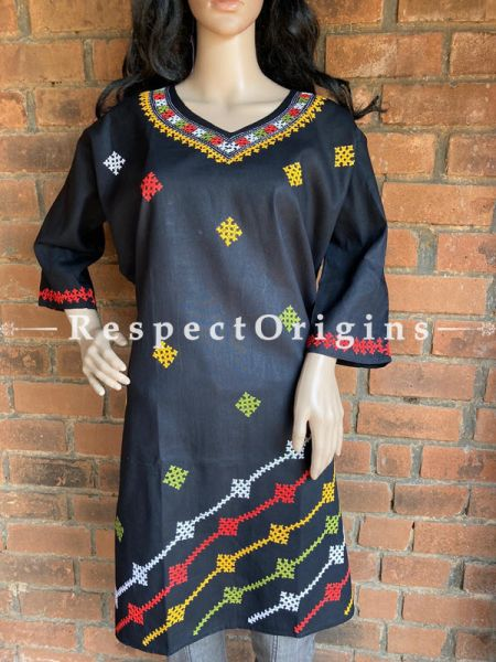 Ready to wear Tribal Kantha Hand Embroidered on Black Cotton Kurti, Top; Size 50; RespectOrigins.com