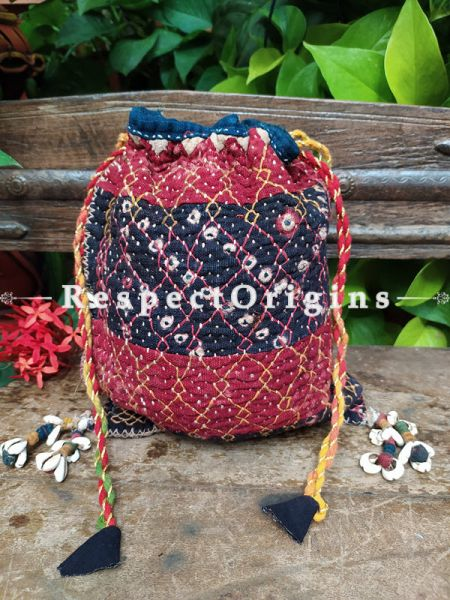 Gorgeous Red and Blue Kantha Quilted Cotton Potli Drawstring Grooming/ Toiletry Cotton Bag; 10 X 8 Inches; RespectOrigins.com