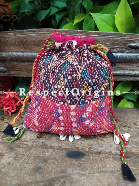 Pink Kantha Quilted Cotton Potli Drawstring Grooming/ Toiletry Cotton Bag; 10 X 8 Inches; RespectOrigins.com